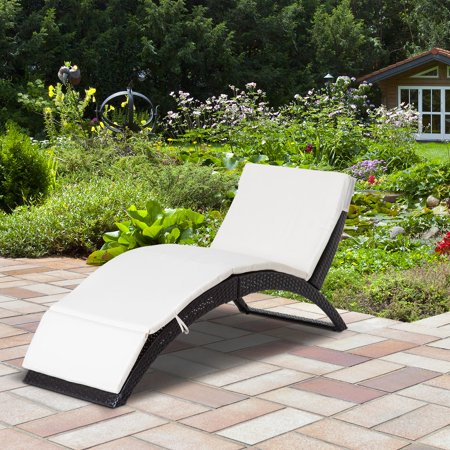 Patio Wicker Lounger Recliner Bed Folding Outdoor with Cushion - image 1 of 7