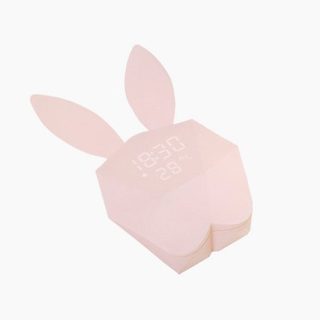 Lovely Rabbit Shape LED Alarm Clock Sound Night LED Light Thermometer Rechargeable Table Wall Clocks for Home Decoration