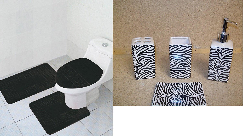 7PC SOFT BATHROOM SET BATH MAT CONTOUR RUG TOILET LID COVER CERAMIC ACCESORIES