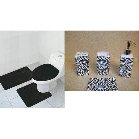 Zebra Bath Rugs - 7 Piece Bath Accessory Set Black ZEBRA Print Bathroom Rugs contour mat & Ceramic Accessories