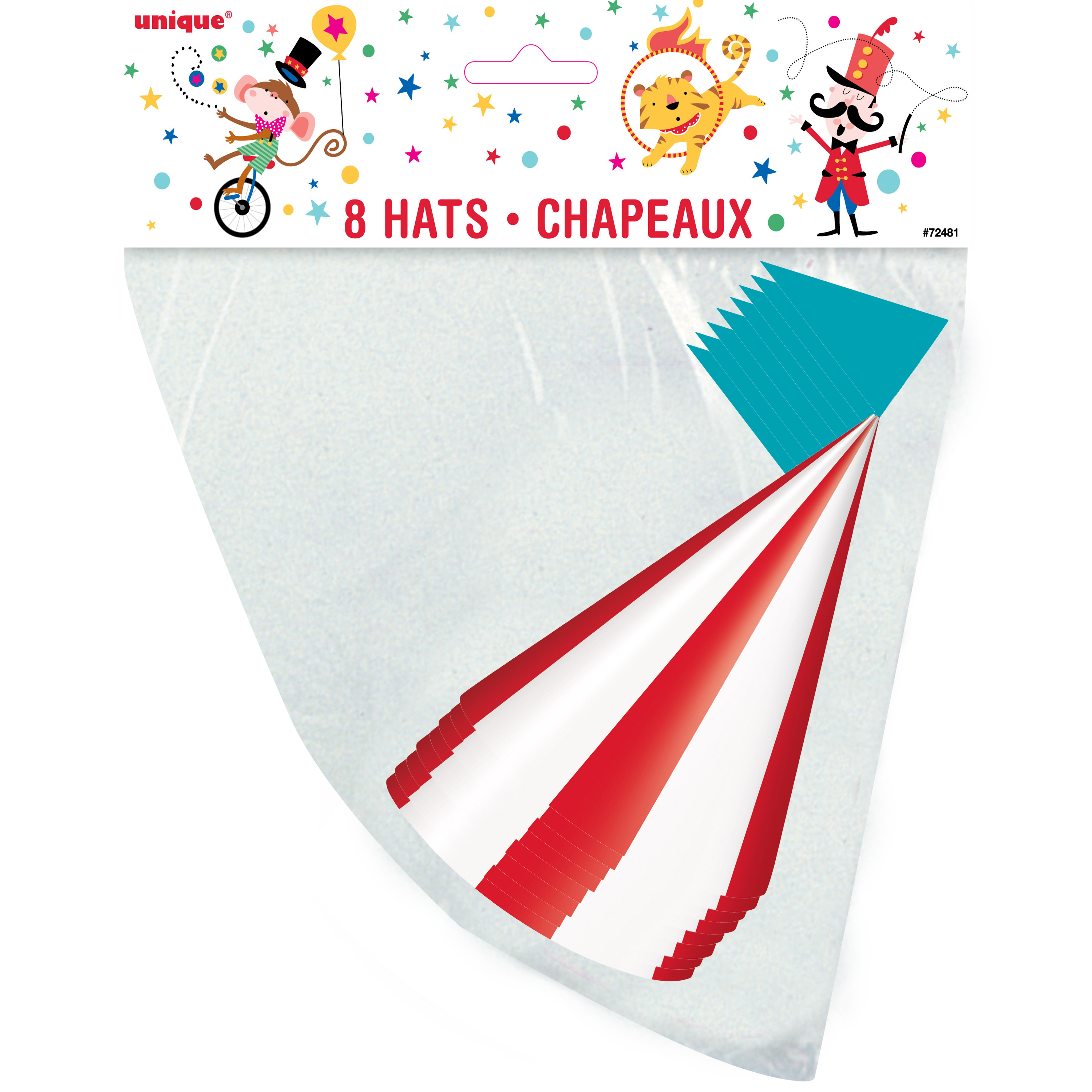 Circus Carnival Party Hats, 8ct