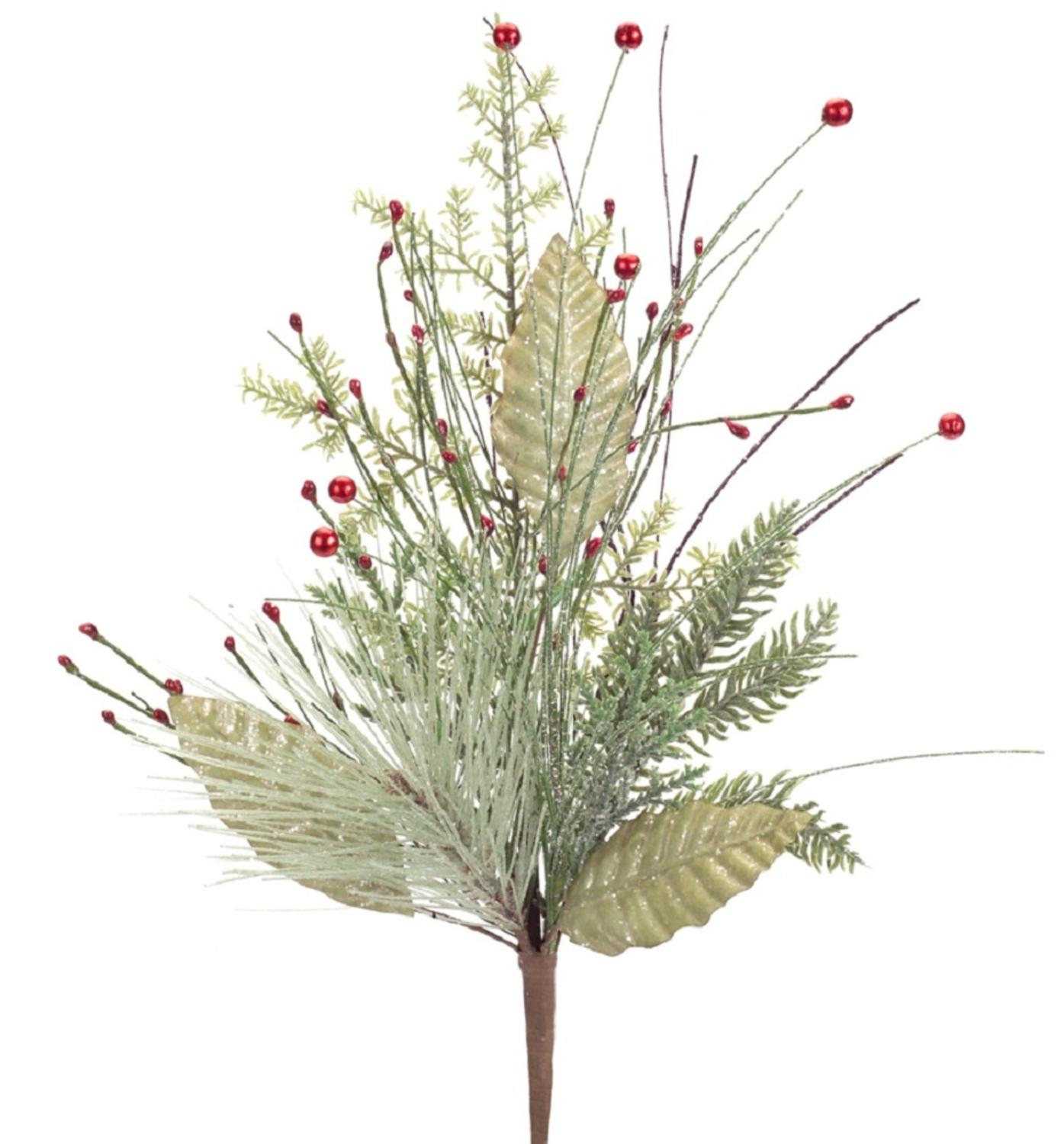 """Pack of 6 Green Artificial Iced Foliage Pine Decorative Sprays with Red Berries 22"""""""