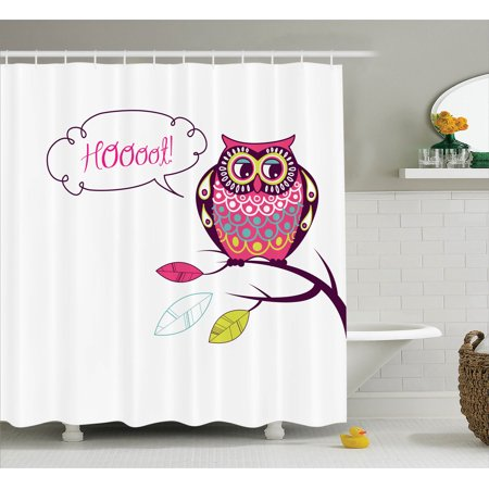 Owls Home Decor  Ornate Colorful Owl On The Branch Observing Flat Face Myst Animal Artsy Image, Bathroom Accessories, 69W X 84L Inches Extra Long, By Ambesonne (Animal Faces)
