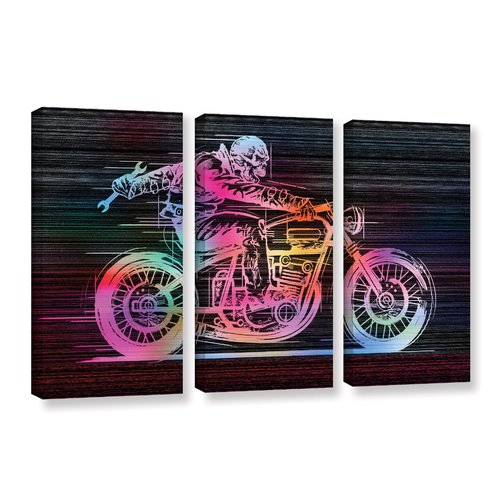 ArtWall 'Moto IV' by Greg Simanson 3 Piece Graphic Art on Wrapped Canvas Set
