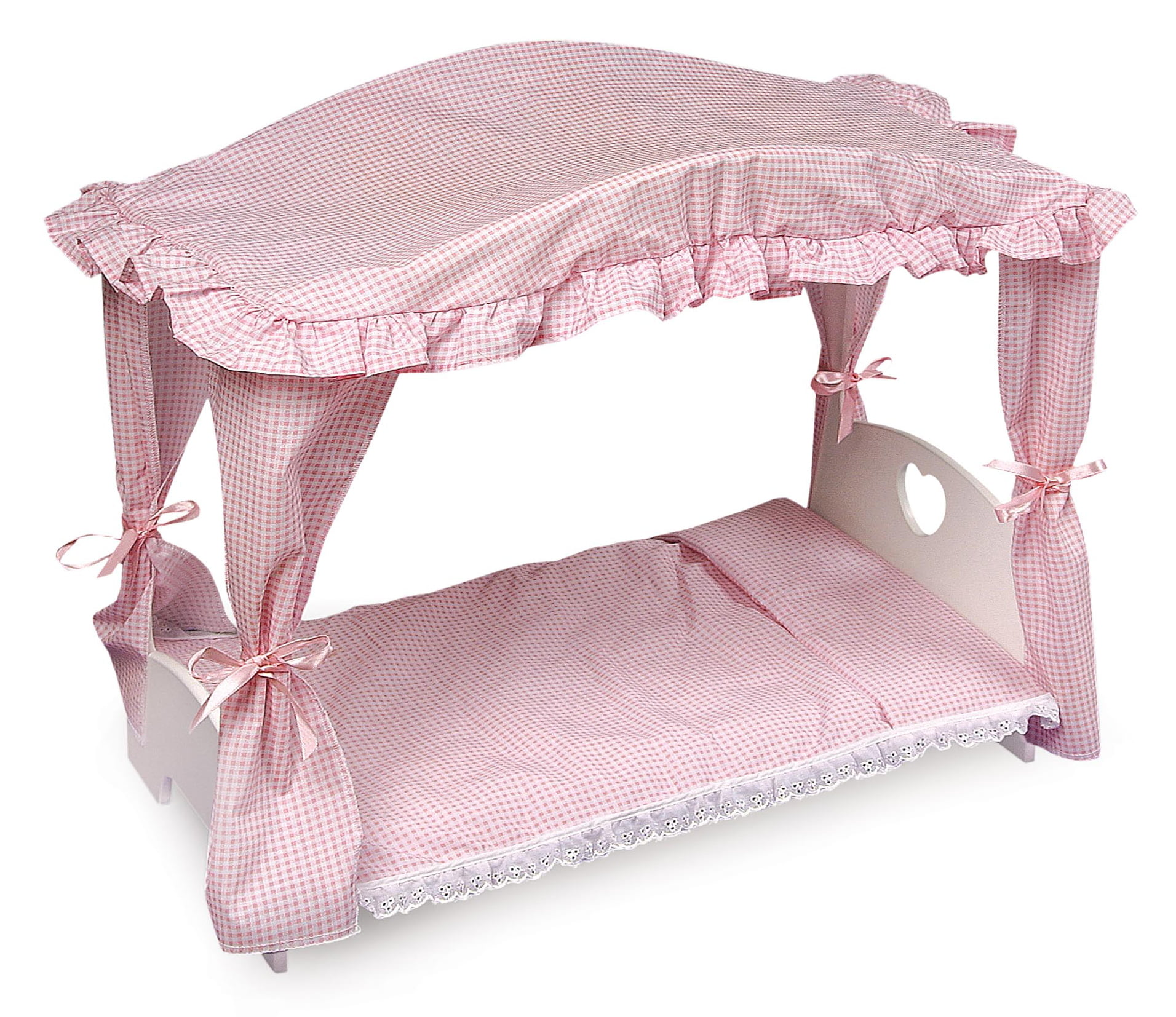 Badger Basket Canopy Doll Bed with Bedding White Pink Fits American Girl, My Life As &... by Badger Basket