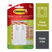 Command Sawtooth Picture Hanger Value Pack, White, Large, 2 Hangers, 4 Strips/Pack