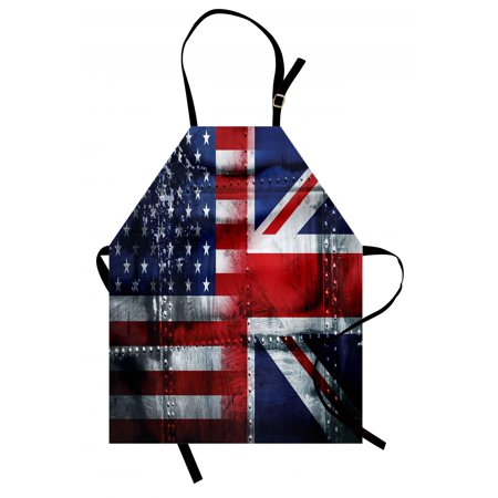 Halloween Themed Food Uk (Union Jack Apron Alliance Togetherness Theme Composition of UK and USA Flags Vintage, Unisex Kitchen Bib Apron with Adjustable Neck for Cooking Baking Gardening, Navy Blue Red White, by)