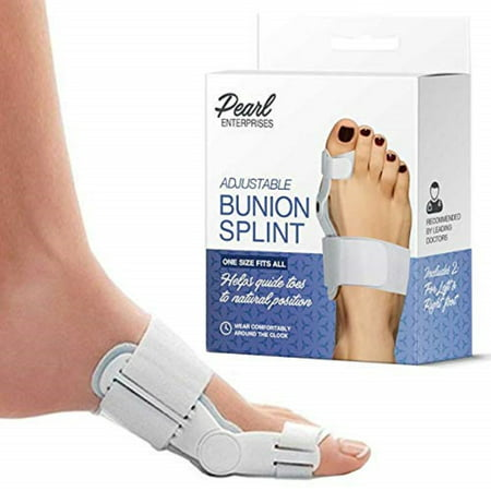Pearl Enterprises 2pcs Bunion Corrector Adjustable Bunion Splint Toe Corrector Brace with Bunion Pads for Bunion Relief Hinged Bunion Bootie for Nighttime