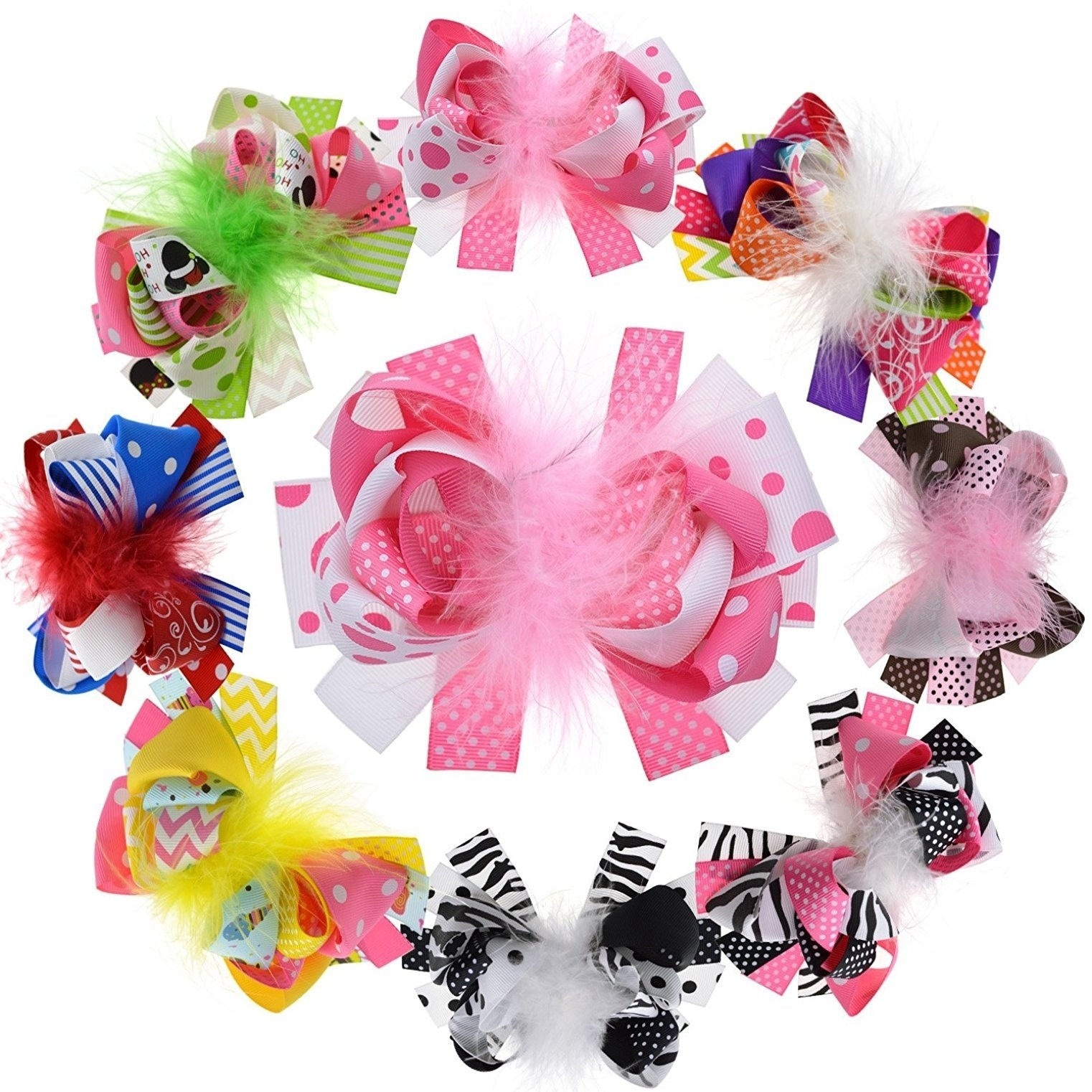 Large Feather Ribbon Bows For Headband Stacked For Girls