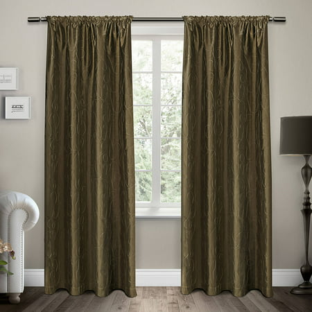 Exclusive Home Curtains 2 Pack Saturn Embroidered Rod Pocket Curtain Panels Chinese Embroidered Silk Panel