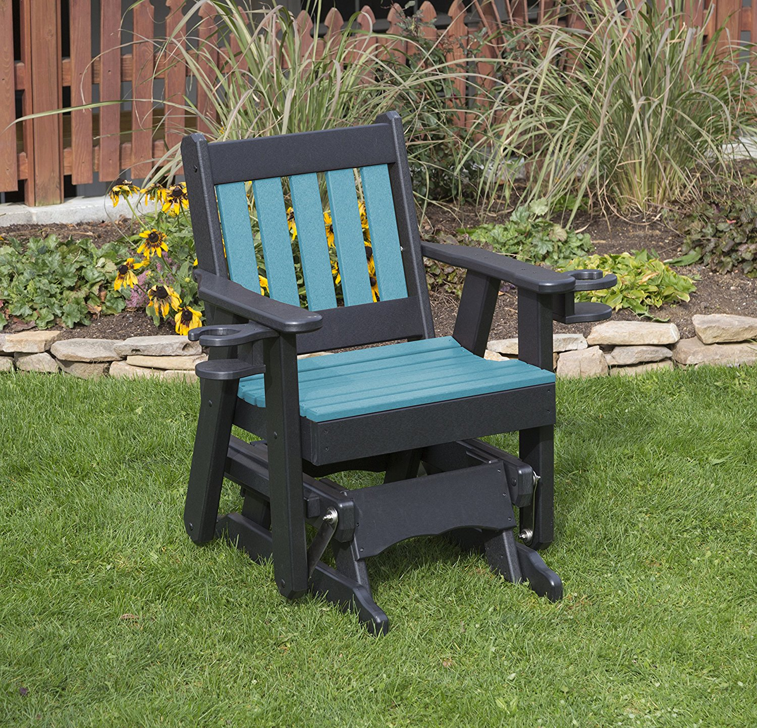 Outdoor Exterior Aruba Blue Finish 2 Ft Poly Lumber Mission Everlasting Amish Crafted Traditional Glider With Cupholder Arms