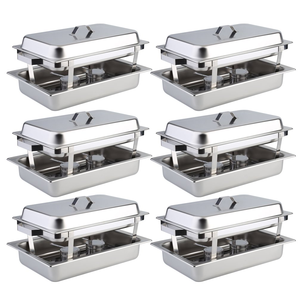 6 Pack Catering Chafing Dish Sets Buffet Catering Food Warmer Stainless Steel Kitchen Dining Heater Warming... by Sunrain