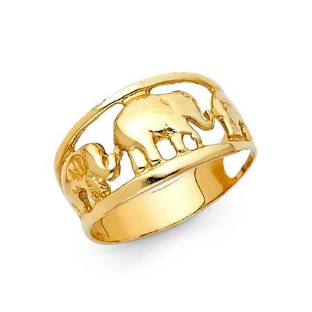 Elephant Design Band (Three Elephants Ring Solid 14k Yellow Gold Good Luck Charm Band Polished Design Genuine)