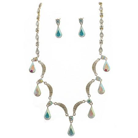 Silver Aurora Borealis Scallop Y Drop Crystal Bridesmaid Bridal Necklace Earring Set