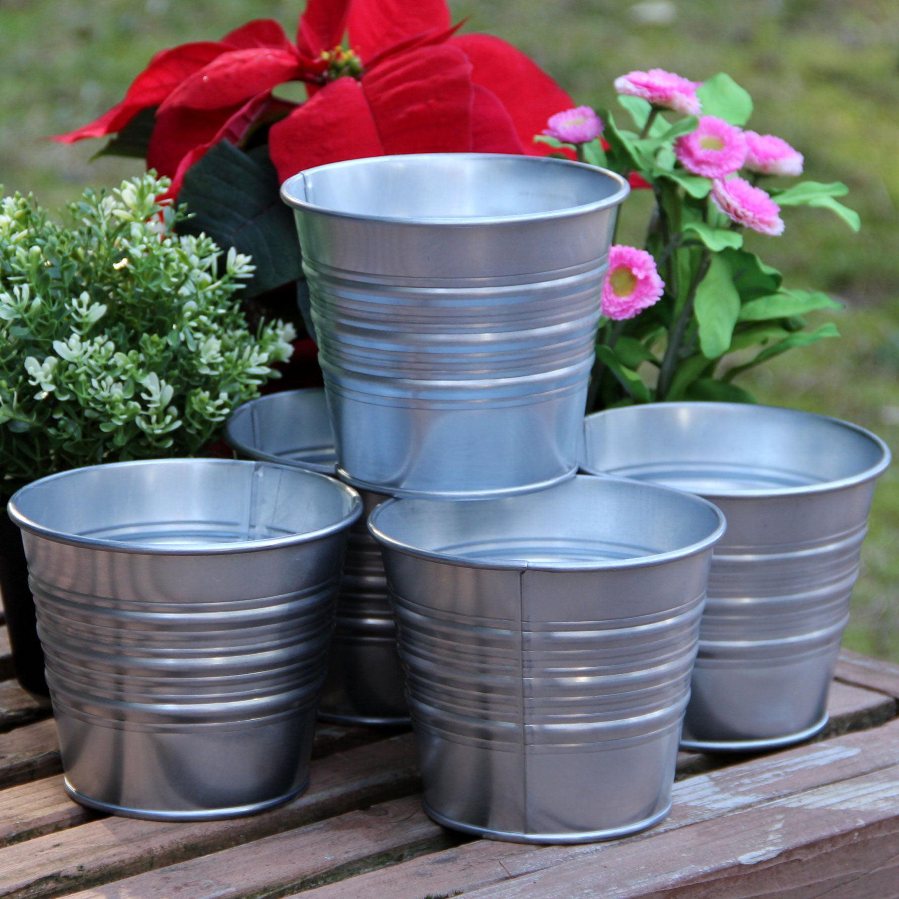 Galvanized Basket Bucket Planters Pot Metal Set Of 5 For Plant And Flower Walmart Com Walmart Com