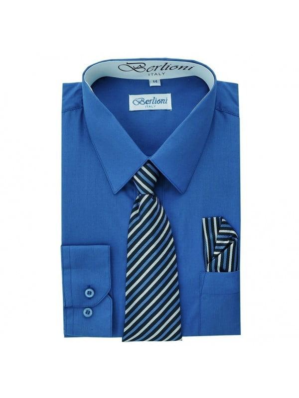 Berlioni Kids Boys Long Sleeve Dress Shirt With Tie and Hanky Blue