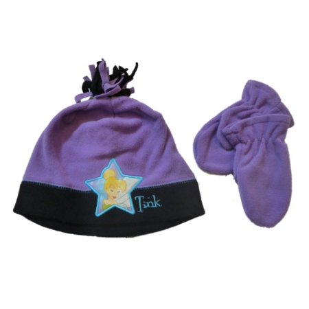 Disney Fairies Toddler Girls Purple Fleece Tinkerbell Hat & Mittens Beanie Set