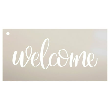 "Welcome Sign Stencil by StudioR12 - Reusable, Paint Front Porch Sign, DIY Decor, New Home Gift, Barn Wood, Word Art - STCL1493 - SELECT SIZE (17"" x 7"")"