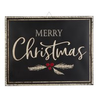 "Holiday Time Iron Merry Christmas Hanging Sign Decoration, 18"" x 23"""