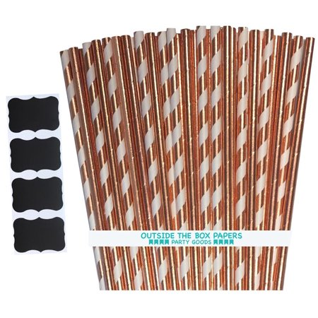 Stripes Tin (Rose Gold Stripe and Solid Foil Paper Straws 100 Pack )