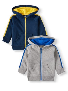 Garanimals Baby Boy Long Sleeve Zip Up Hoodies, 2pc Multipack