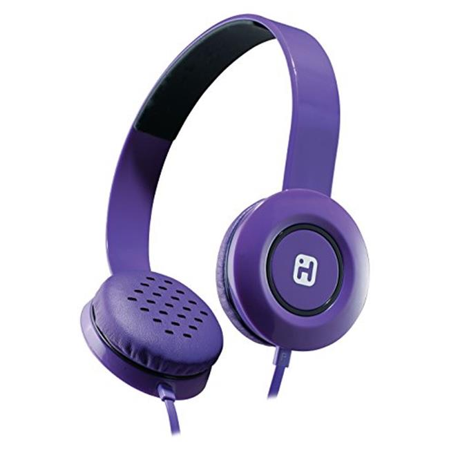 iHome IB35UBC Stereo Headphones with Flat Cable, Black & Purple