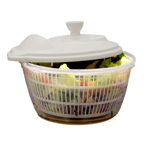 Clear Salad Spinner, Vegetable Washer and Dryer with Bowl by Quickway Imports