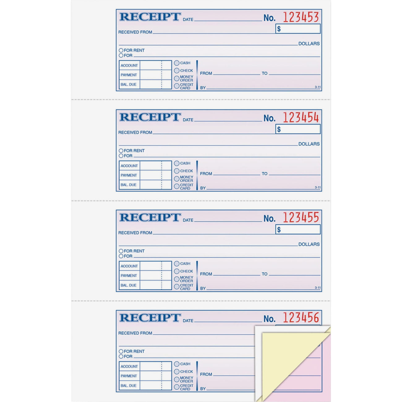 Adams Tc1182 Tape Bound Money/rent Receipt Book   100 Sheet[s]   Tape Bound    3 Part   Carbonless   2.75  Printable Receipt Book