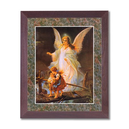 Guardian Angel Picture Frame - Guardian Angel With Children On Bridge Religious #2 Wall Picture Cherry Framed Art Print