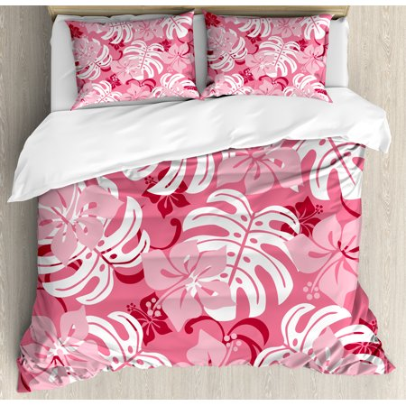 Luau Duvet Cover Set Hibiscus Flower With Monstera Leaves