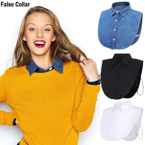 Women False Collar Detachable Neckline Choker Fake Collar Bib Half Shirt LD