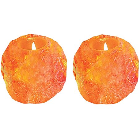 Himalayan 3002A Natural Crystal Salt Tealight Candle Holder - 2-Pack