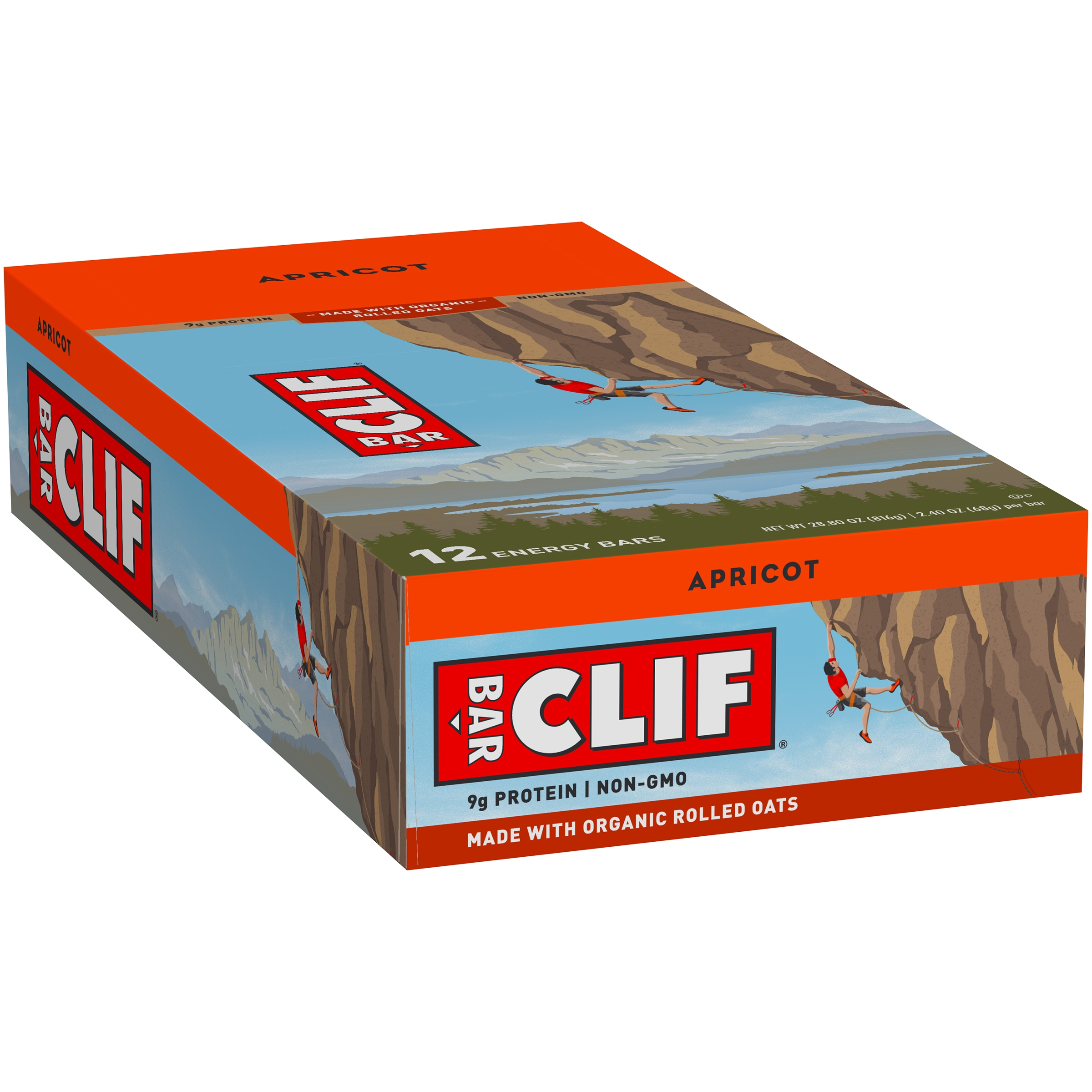 CLIF BAR, Energy Bar, Apricot, 2.4 Oz, 12 Ct