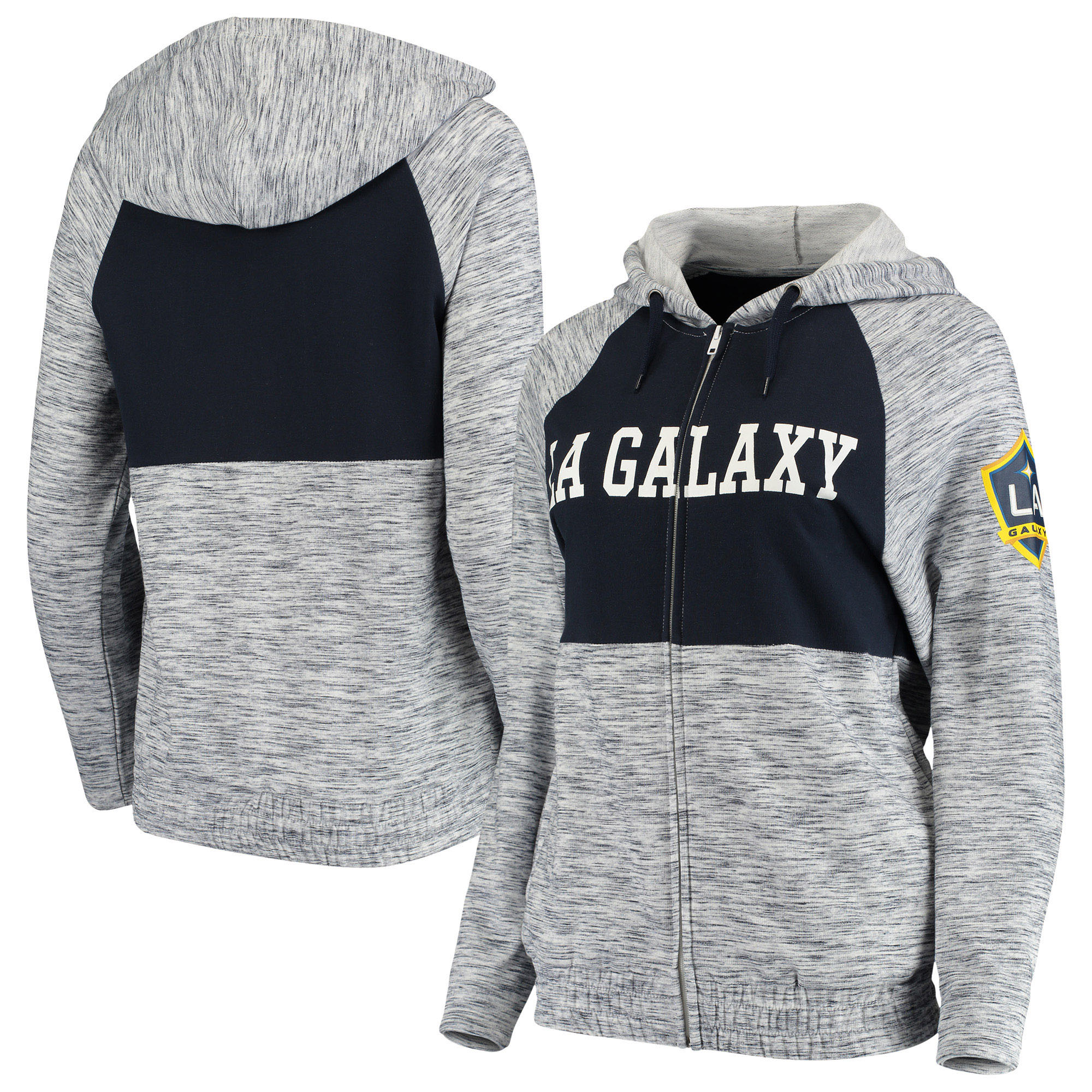 LA Galaxy 5th & Ocean by New Era Women's Novelty Space Dye Full-Zip Hoodie - Navy