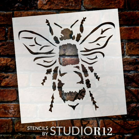 Bee Stencil by StudioR12 | Reusable Mylar Template | Use for Painting Wood, Fabric, Furniture | DIY Vintage Shabby Chic, Distressed French Country,Rustic Farm Home Decor | CHOOSE SIZE ()