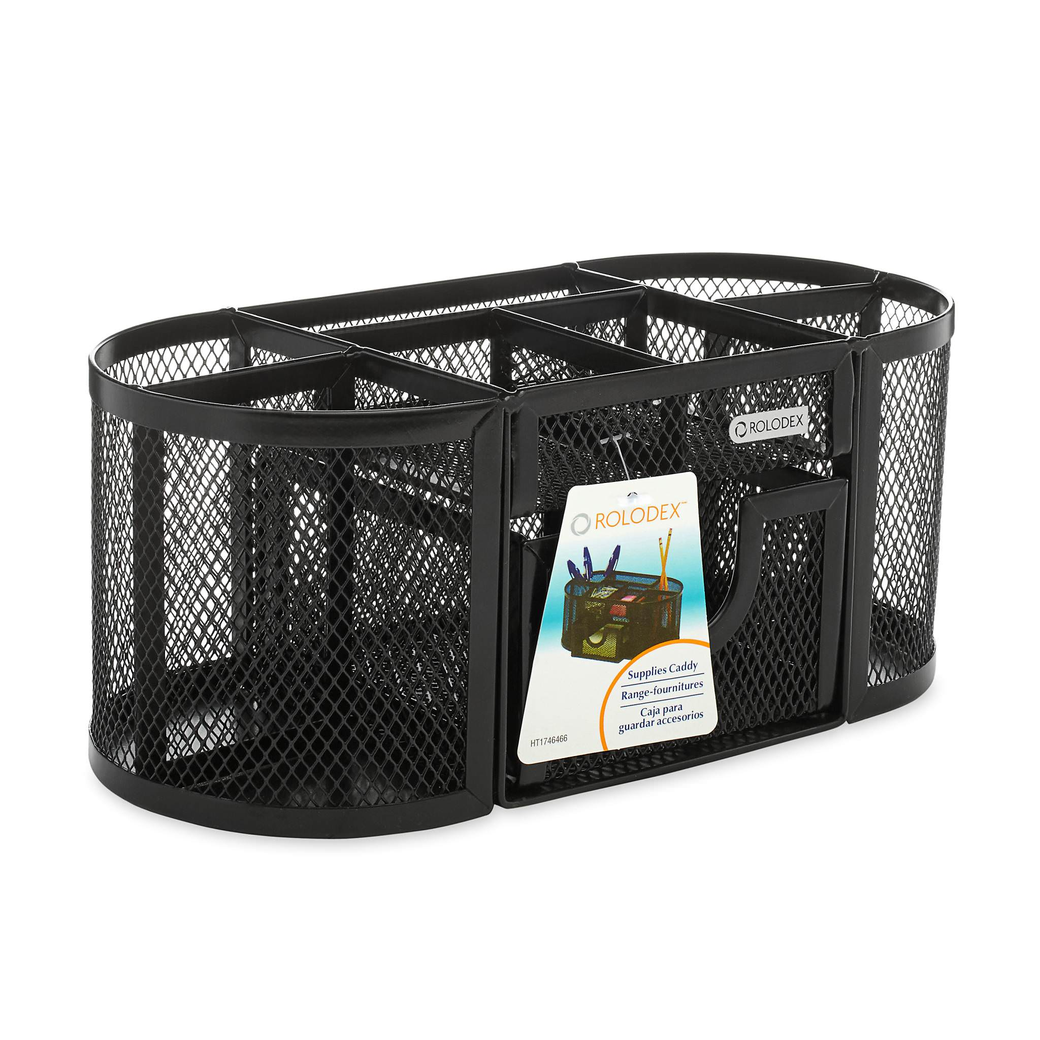 Rolodex Oval Supply Caddy, Metal Mesh, Black