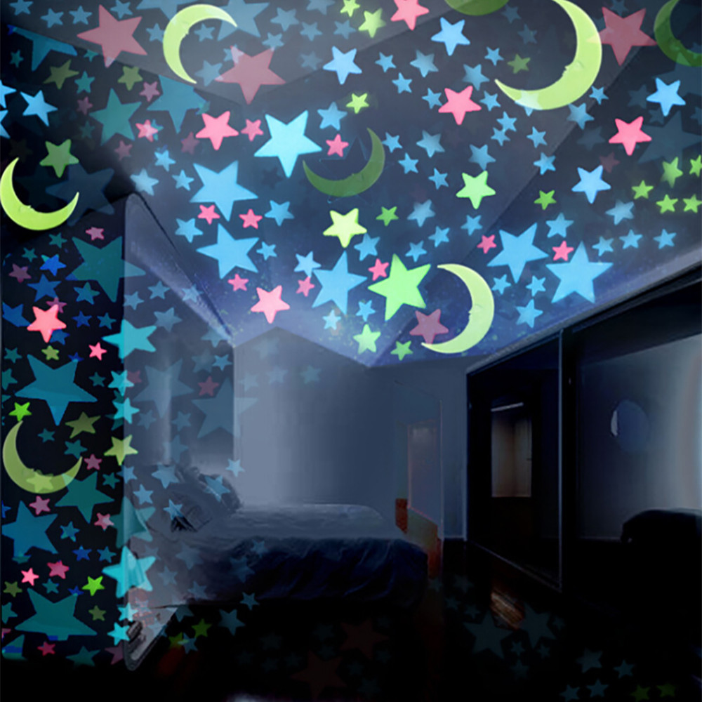 100PC Kids Bedroom Fluorescent Glow In The Dark Stars Moons Wall Stickers