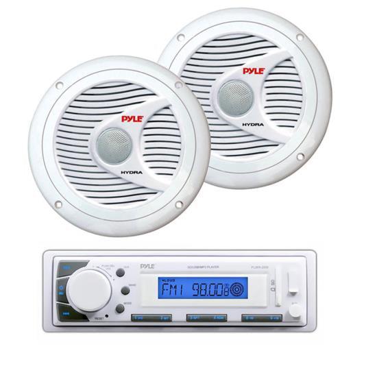 "Marine Stereo AM/FM Radio Receiver USB/SD iPod/MP3 Player + 2 x 150W 6.5"" White Speakers"
