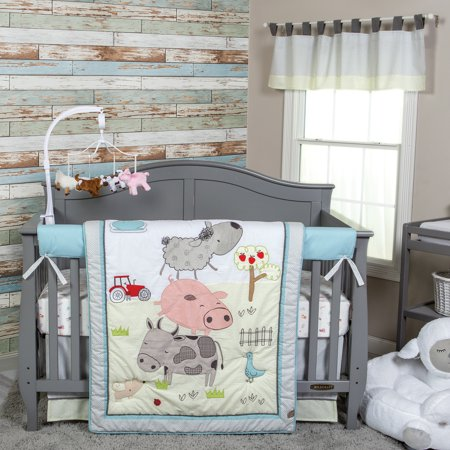 - Trend Lab Farm Stack 4 Piece Crib Bedding Set