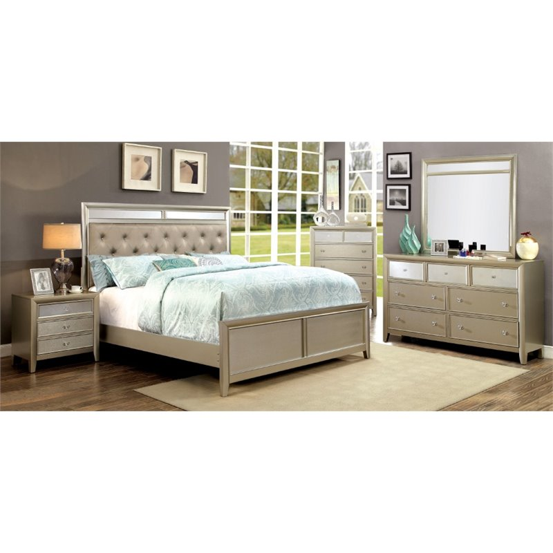 Furniture of America Maire 4 Piece King Bedroom Set in Silver by Furniture of America