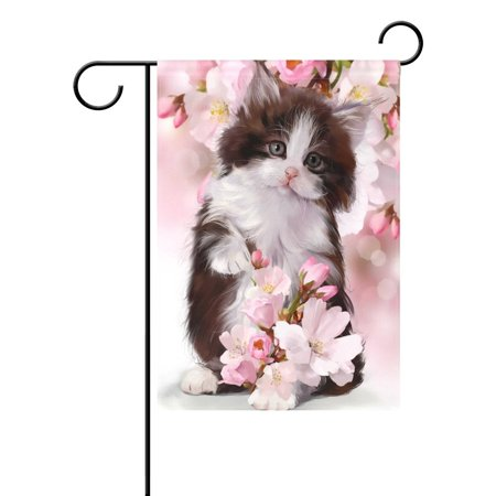 Cherry Blossom Coat (POPCreation Watercolor Kitten Cat Cherry Blossom Garden Flag Outdoor Flag Home Party 28x40 inches)