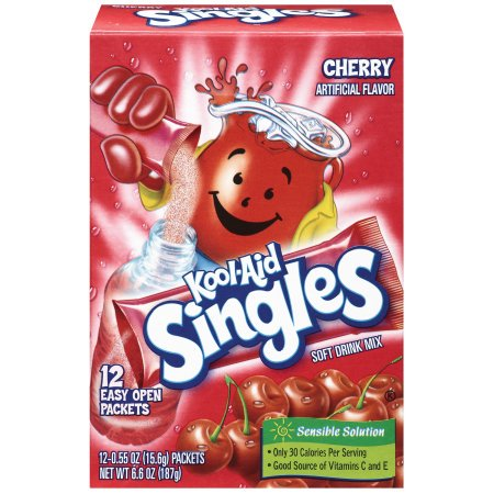 (12 Pack) Kool-Aid Singles Sugar-Sweetened Cherry Powdered Soft Drink, 12 - 0.55 oz Packets