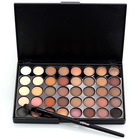 40 Color Eyeshadow Palette Brush Set Makeup Cosmetic Powder Makeup Set Matt Waterproof Natural Nude (Nude Makeup Kit)