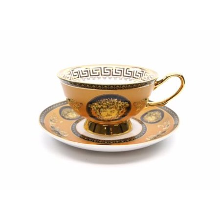 Royalty Porcelain Luxury 3pc YELLOW Tea or Coffee Cup Medusa Greek Key (Butterfly Porcelain Cup)