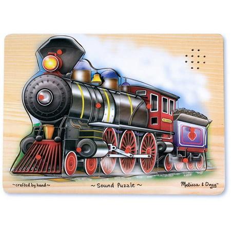 Melissa & Doug Train Sound Puzzle - Wooden Puzzle With Sound Effects (9 pcs) - Train Puzzles