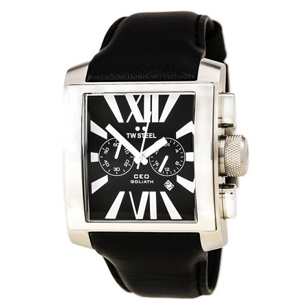 Tw Steel Ce3006 Mens Ceo Goliath Chronograph Black Leather Strap Black Dial Watch