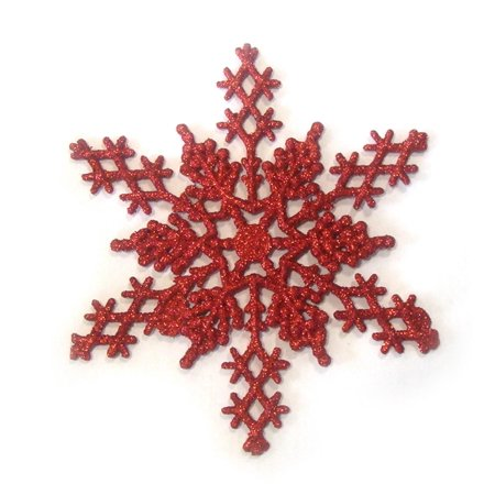 Club Pack of 12 Red Hot Glitter Snowflake Christmas Ornaments 6.25