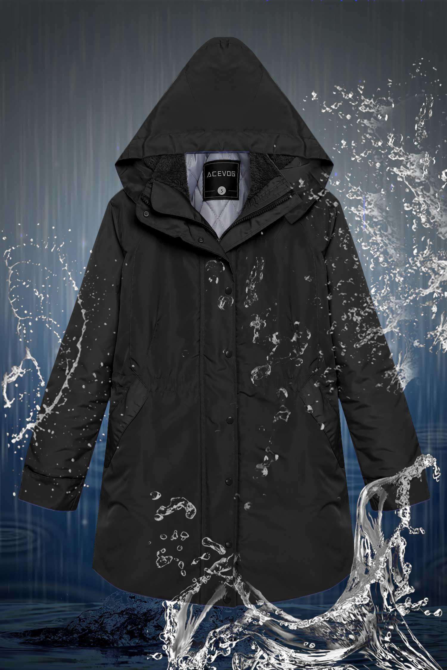 Thick Women Front-Zip Hooded Parka Coat Outdoor Waterproof Jacket HPPY by
