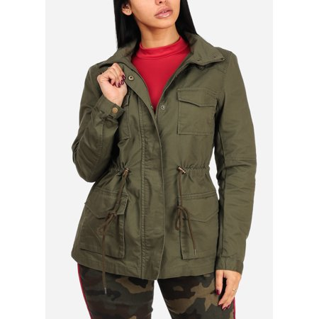 Womens Juniors Cotton Cargo Army Style Long Sleeve Hoodie Front Pockets Zip Up Olive Jacket Outwear 40073T