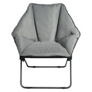 Gymax Folding Saucer Padded Chair Soft Wide Seat w/ Metal Frame Lounge Furniture